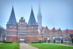 Holsten gate of Lubeck in Germany at dawn Royalty Free Stock Photography