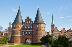 Holsten Gate in Lubeck old town, Germany Royalty Free Stock Photography