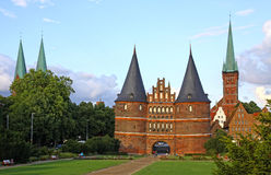 Holsten Gate in Lubeck old town, Germany Stock Image