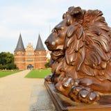 Holsten Gate, Lubek. Lion near Holsten Gate, Lubeck, Germany Stock Image