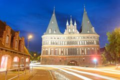 Holsten Gate at night, Lubeck - Germany.  Royalty Free Stock Image