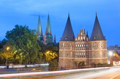 Holsten Gate at sunset, Lubeck - Germany.  Royalty Free Stock Photo