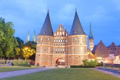 Holsten Gate at sunset, Lubeck - Germany.  Stock Images