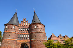 Holstentor Gate and Salzspeicher in Lubeck, Germany Royalty Free Stock Photography