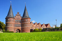 Holstentor Gate and Salzspeicher in Lubeck, Germany Royalty Free Stock Photo
