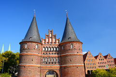 Holstentor Gate and Salzspeicher in Lubeck, Germany Stock Photography