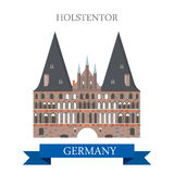 Holstentor Holsten Gate Lubeck Germany flat vector attraction Stock Images