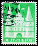 Holstentor, Lübeck, American and British Zone serie, circa 1950. MOSCOW, RUSSIA - MARCH 23, 2019: Postage stamp printed in Germany, Allied Occupation 1945 stock photos