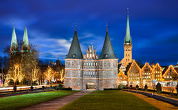 Holstentor in Lubeck, Germany. With Christmas decorations stock photography