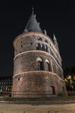 Holstentor in Luebeck at night Stock Photos