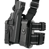 Holster black plastic, close view. Holster black plastic on belt, close view. 3D graphic Stock Image