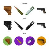 Holster, cartridge, air bomb, pistol. Military and army set collection icons in cartoon,black,flat style vector symbol. Stock illustration stock illustration