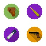 Holster, cartridge, air bomb, pistol. Military and army set collection icons in flat style vector symbol stock Stock Images