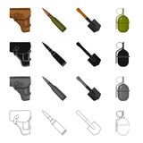 A holster of a pistol, a fighting cartridge, an army shovel, a hand grenade. The military and the army set collection Stock Images