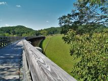 Virginia Creeper Trail. Holston Trestle is just one of 47 trestle bridges crossed by bike riders, hikers and horseback riders along the Virginia Creeper Trail royalty free stock photos