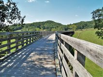 Virginia Creeper Trail. Holston Trestle is the longest of 47 trestle bridges crossed by bike riders, hikers and horseback riders along the Virginia Creeper Trail royalty free stock images
