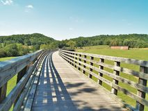 Virginia Creeper Trail. Holston Trestle is the longest of 47 trestle bridges crossed by bike riders, hikers and horseback riders along the Virginia Creeper Trail Royalty Free Stock Photo
