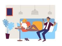 Holu bar, cukierniani wewnętrznego projekta przyjaciele lub para na leżance royalty ilustracja