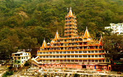 The holy adobe of the Hindu Gods. Landscape view of the famous 13 storey Hindu temple housing various Gods and Goddessess from Hindu religion with beautiful royalty free stock photography