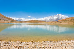 Holy Alpine Buddhist Pilgrimage Lake Dhankar Royalty Free Stock Image