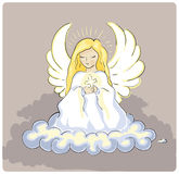 Holy angel. Bright angel holding a cross Royalty Free Stock Image