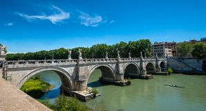 Holy Angel Fort and Holy Angel Bridge. The holy angel fort is a mausoleum built on the banks of the Tiber River, designed and personally commanded by the emperor Royalty Free Stock Photography
