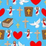 Holy background. Biblical seamless pattern. Jesus and Bible. Cro Stock Photography