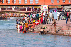 Holy bath in the Ganges. Hindus are taking the holy bath in the waters of the Ganges at Haridwar, India stock photos