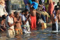 The Holy Bath in Varanasi Stock Image