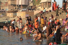 The Holy Bath in Varanasi Stock Images