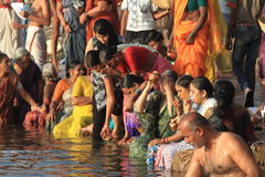 The Holy Bath in Varanasi Royalty Free Stock Photos