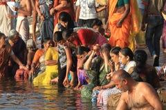 The Holy Bath in Varanasi Royalty Free Stock Photos