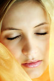 A holy beauty. Beauty portrait of a young beautiful woman with a shawl Stock Photo
