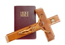 Holy Bibile with Crucifix Royalty Free Stock Images
