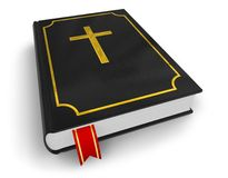 Holy Bible. Black glossy Holy Bible with red bookmark isolated over white Stock Photography