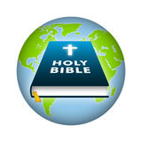 Holy Bible. Bible illustration with earth background Stock Photo
