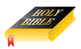 Holy bible. Isolated vector illustration of black cover book with golden lettering Holy bible and red marker with small christian cross royalty free illustration