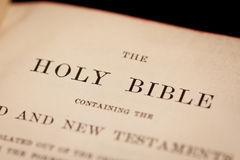 Holy Bible. Inside cover of the holy bible containing the title Stock Image