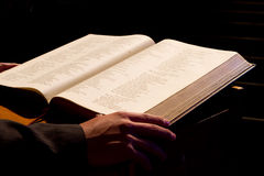Holy Bible. Dramatic photo of a pastor reading form the holy bible Royalty Free Stock Photo
