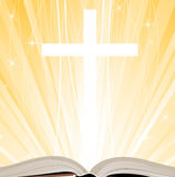 Holy Bible. Holy Book, Cross and Lights Royalty Free Stock Photo