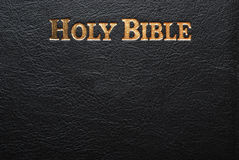Holy bible. Frontcover detail, black leather Royalty Free Stock Images