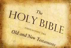 Holy Bible. First page of the Holy Bible. Software enhanced age and texture Royalty Free Stock Images