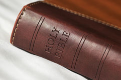 Holy Bible. Leatherbound, brown Royalty Free Stock Images