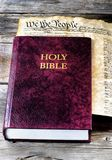 Holy Bible and America. Stock Photo