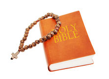 Holy Bible and beads Stock Photography