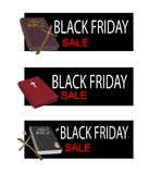 Holy Bible on Black Friday Sale Banner Stock Images