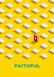 Holy Bible book 3D isometric pattern, Christian faithful concept poster and banner vertical design illustration isolated on yellow