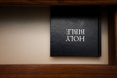 Holy Bible book in drawer Royalty Free Stock Images