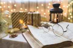 Holy bible book with eyeglasses Royalty Free Stock Photos