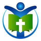 Holy bible book with human prayer logo. Vector illustration of holy bible book with human prayer logo Royalty Free Stock Photo